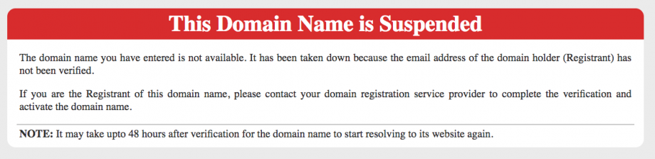 Domain Suspension Notice