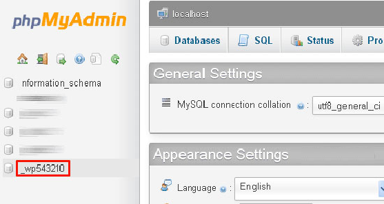 3. Click on your WordPress database